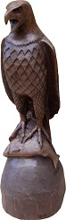 Carved american bald eagle with fish in its claws. Carved in 1993.